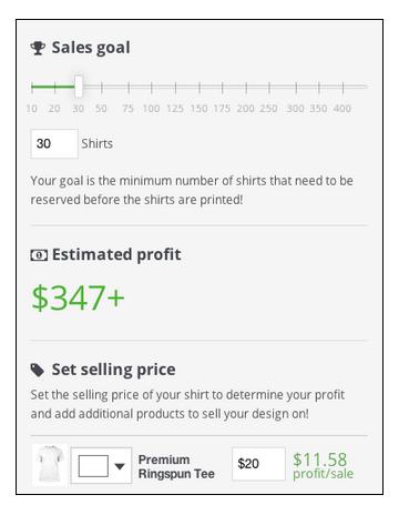 Teespring Sales Goal Adjustment